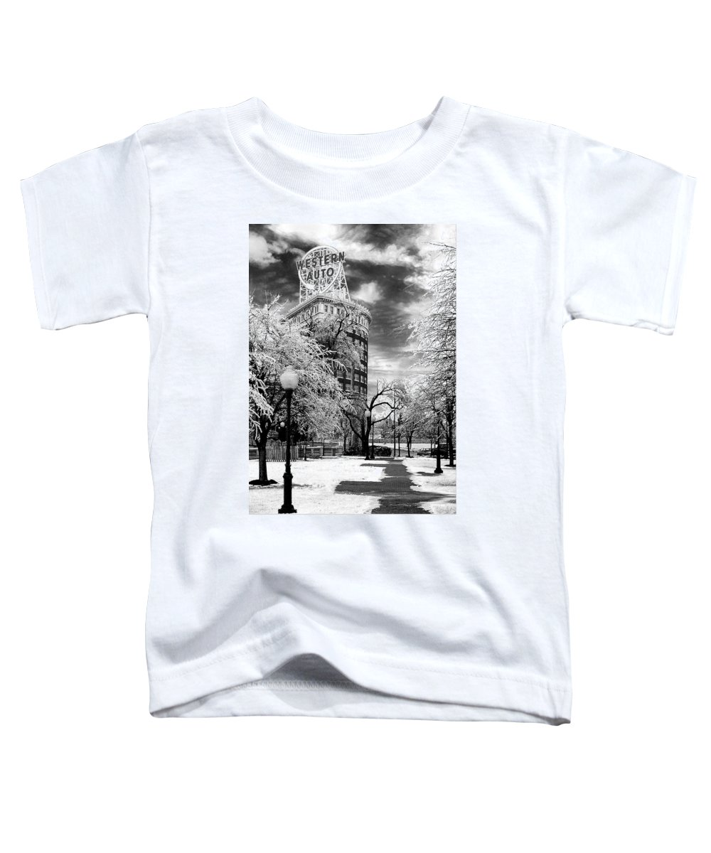Western Auto Kansas City Toddler T-Shirt featuring the photograph Western Auto In Winter by Steve Karol