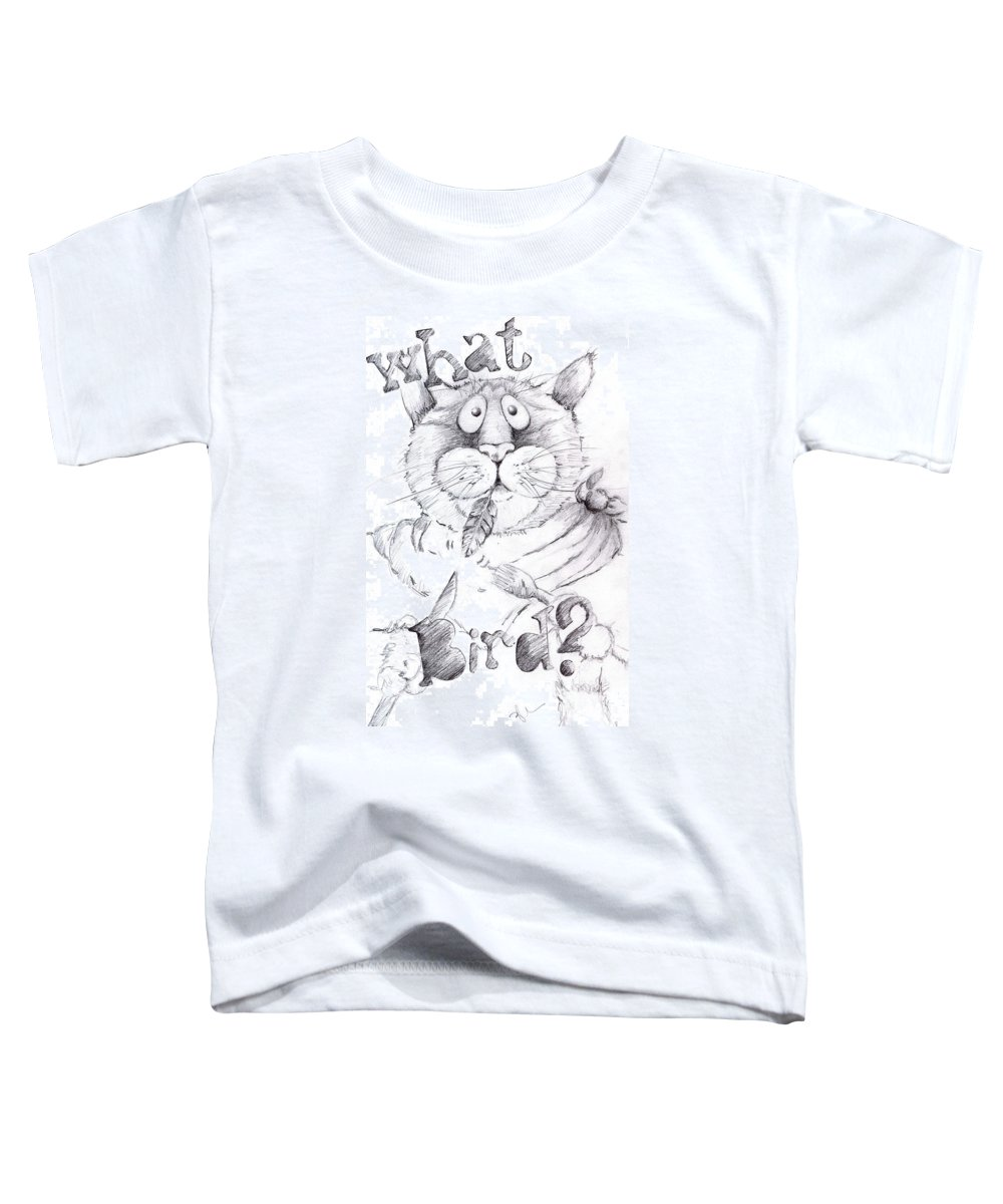 Charity Toddler T-Shirt featuring the drawing What Bird by Mary-Lee Sanders