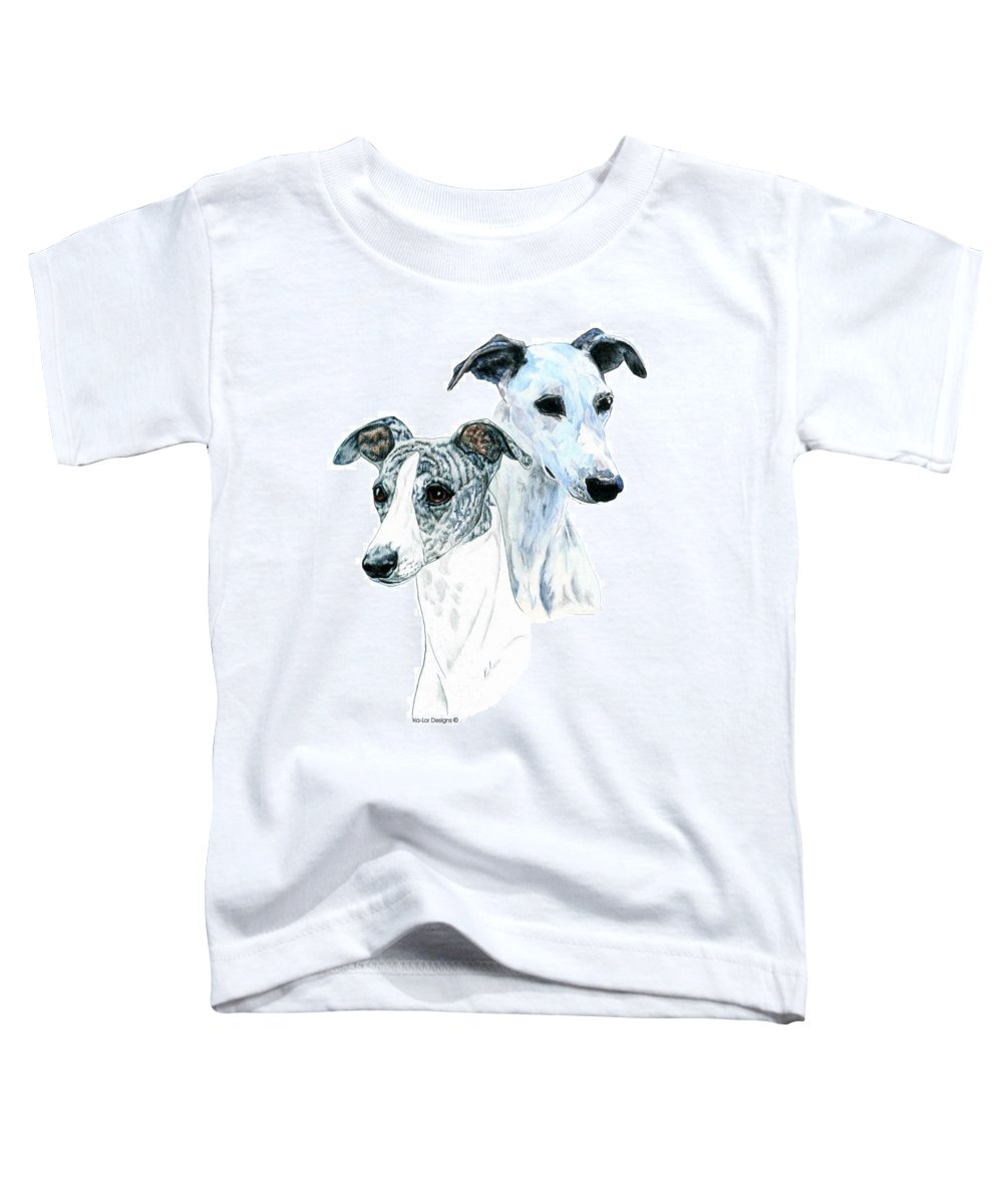 Whippet Toddler T-Shirt featuring the painting Whippet Pair by Kathleen Sepulveda