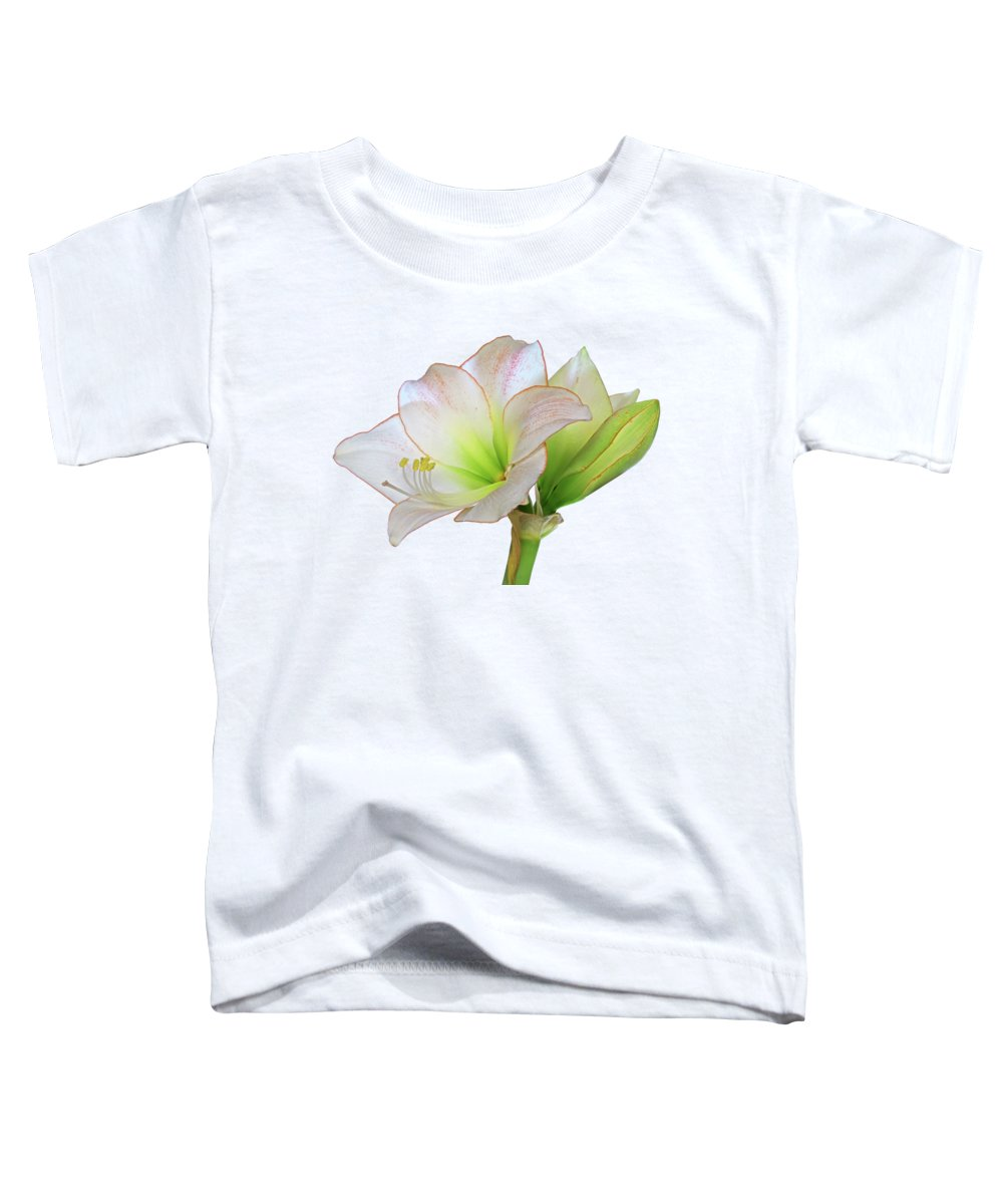 White Amaryllis Toddler T-Shirt featuring the photograph White Amaryllis On White by Gill Billington