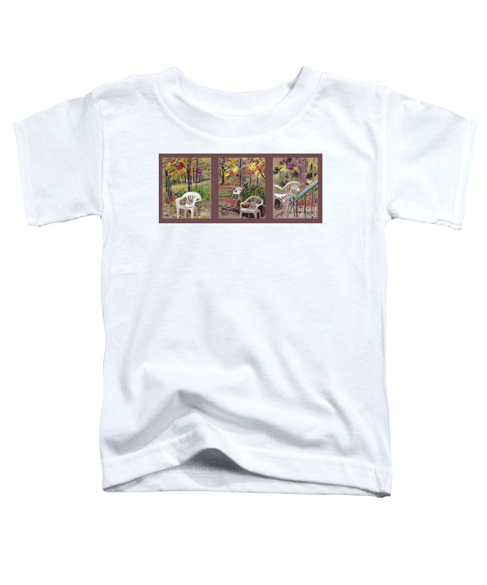 Pastel Toddler T-Shirt featuring the drawing White Chairs And Birdhouses 1 by Donald Maier