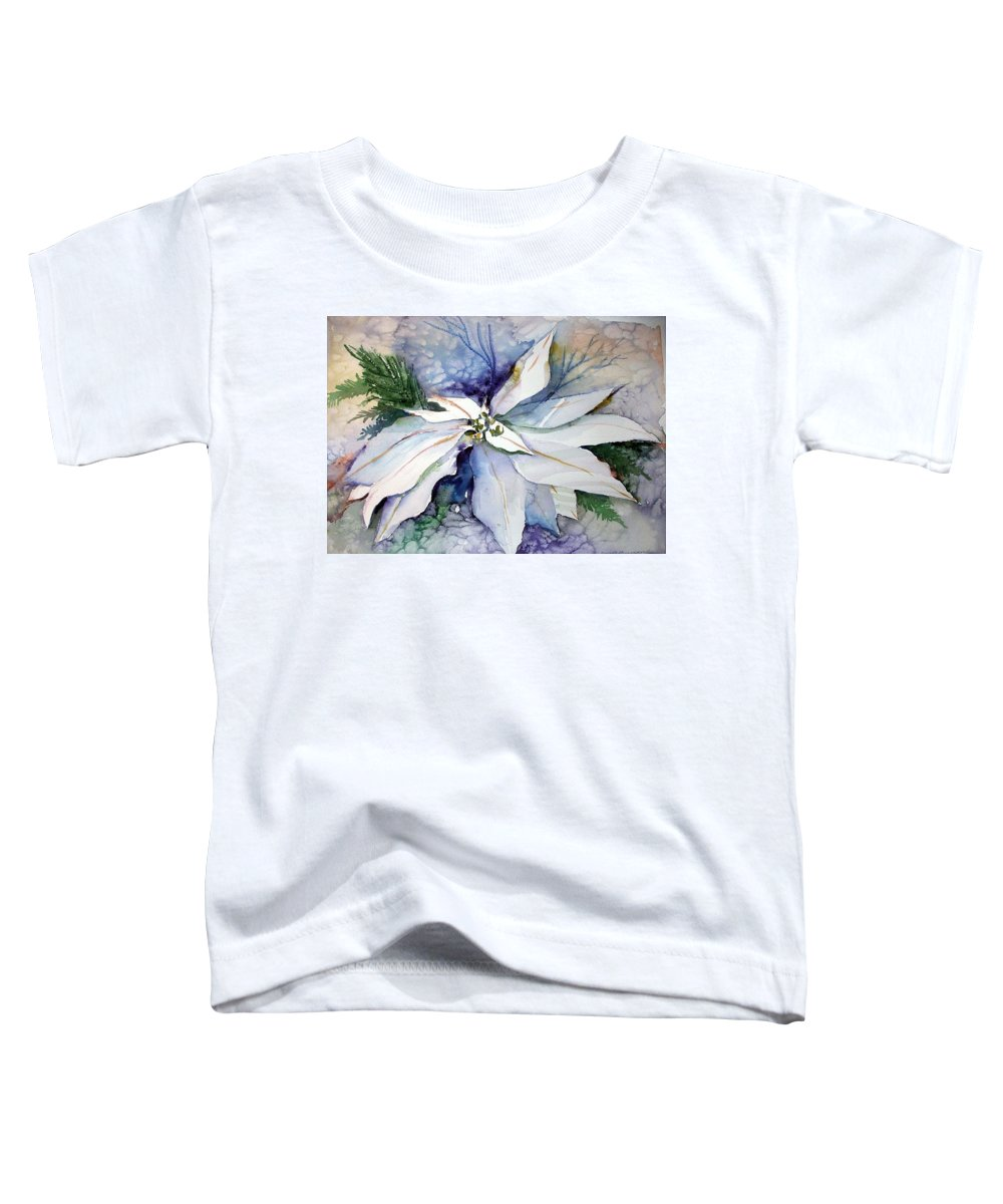 Floral Toddler T-Shirt featuring the painting White Poinsettia by Mindy Newman