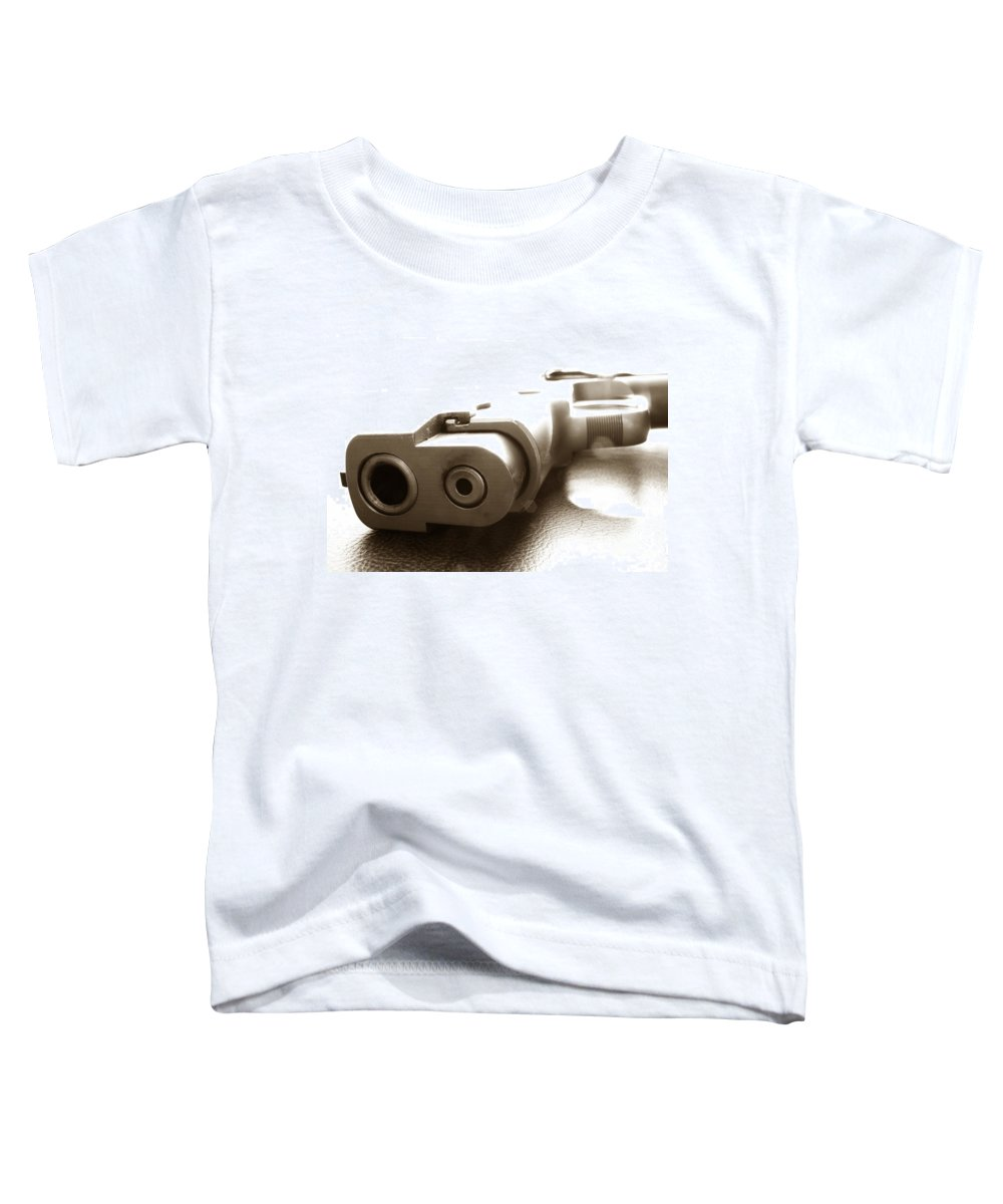 Gun Toddler T-Shirt featuring the photograph Why by Amanda Barcon