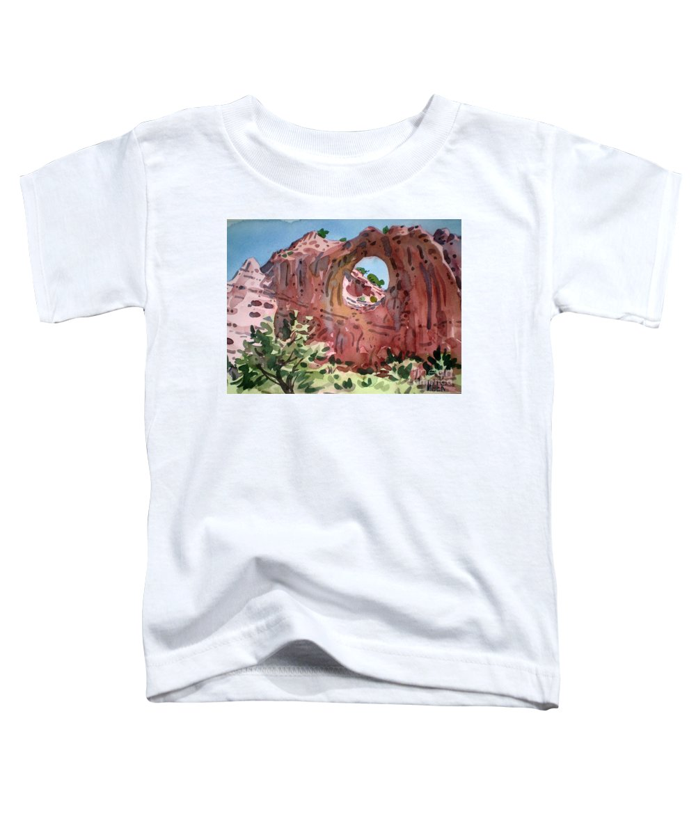 Navajo Tribal Park Toddler T-Shirt featuring the painting Window Rock by Donald Maier