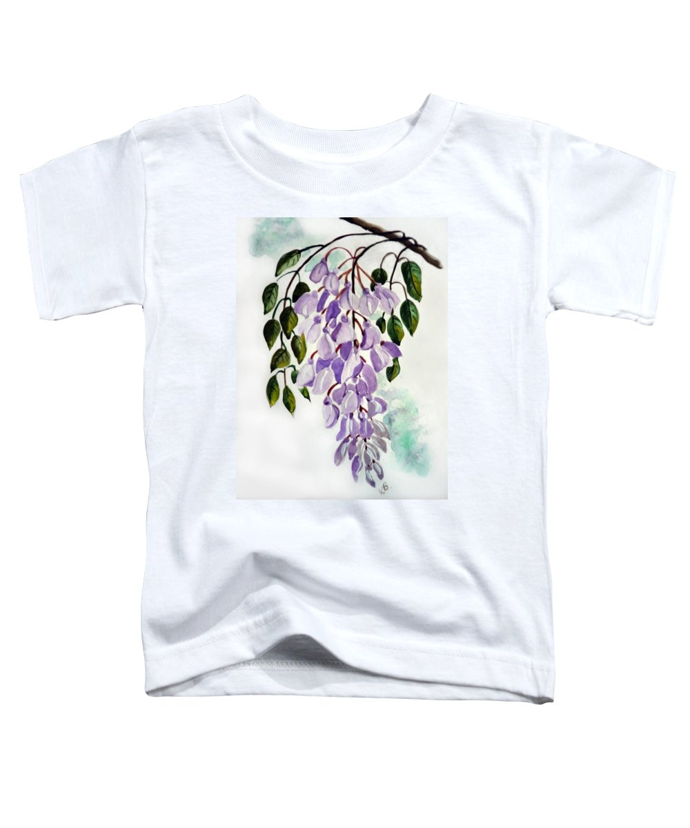 Floral Paintings Flower Paintings Wisteria Paintings Botanical Paintings Flower Purple Paintings Greeting Card Paintings  Toddler T-Shirt featuring the painting Wisteria by Karin Dawn Kelshall- Best