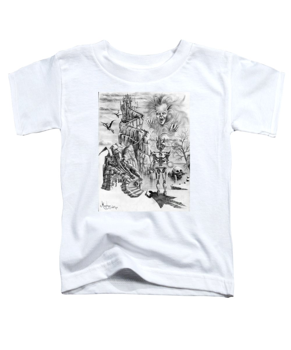 Witch Toddler T-Shirt featuring the drawing Witch Hunter by Murphy Elliott