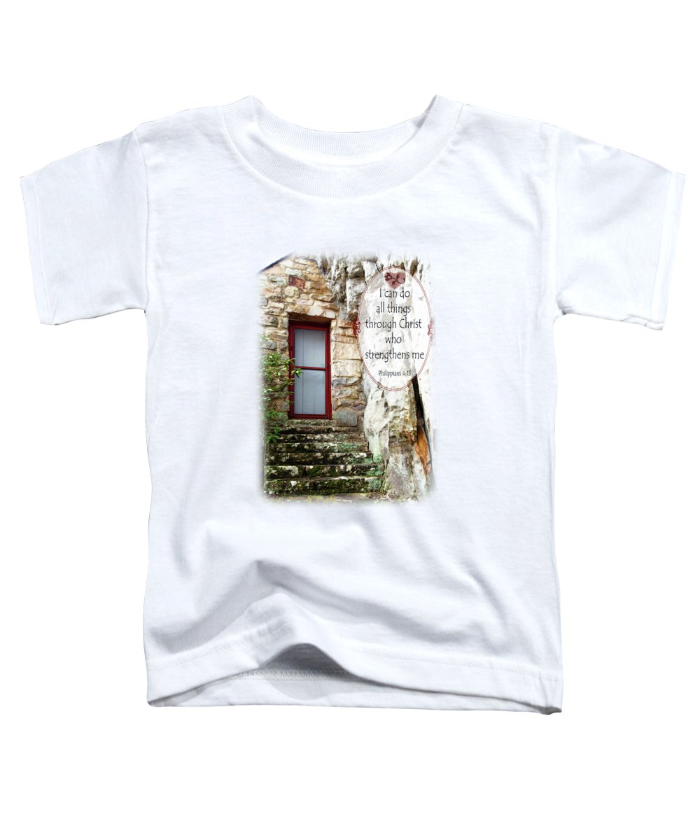 Sallie Howard Memorial Chapel Toddler T-Shirt featuring the photograph With Me - Verse And Heart by Anita Faye