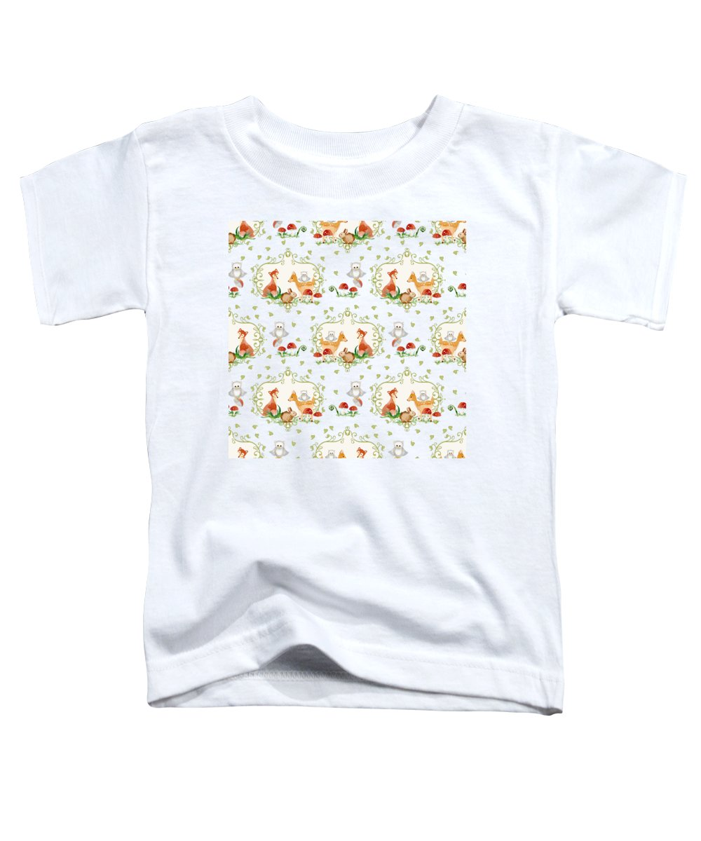 Repeat Pattern Toddler T-Shirt featuring the painting Woodland Fairy Tale - Sweet Animals Fox Deer Rabbit Owl - Half Drop Repeat by Audrey Jeanne Roberts