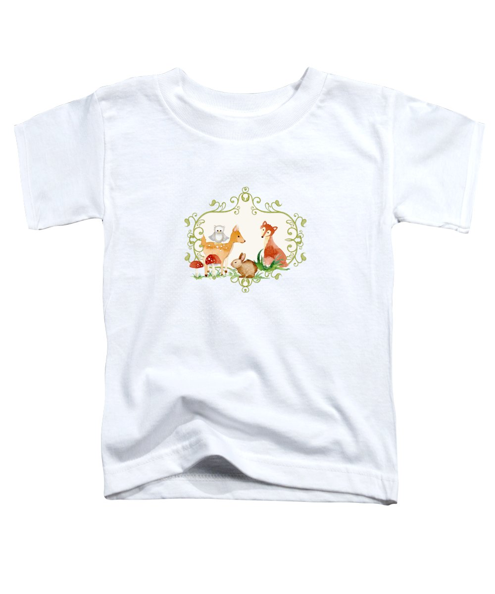 Grey Toddler T-Shirt featuring the painting Woodland Fairytale - Grey Animals Deer Owl Fox Bunny N Mushrooms by Audrey Jeanne Roberts
