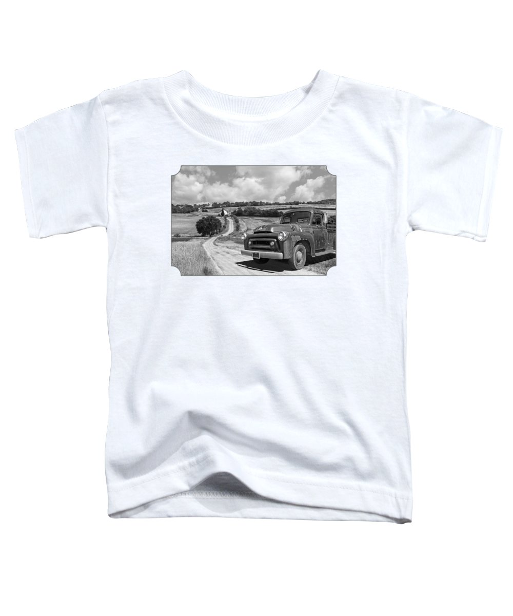 Farm Landscape Toddler T-Shirt featuring the photograph Down On The Farm- International Harvester In Black And White by Gill Billington