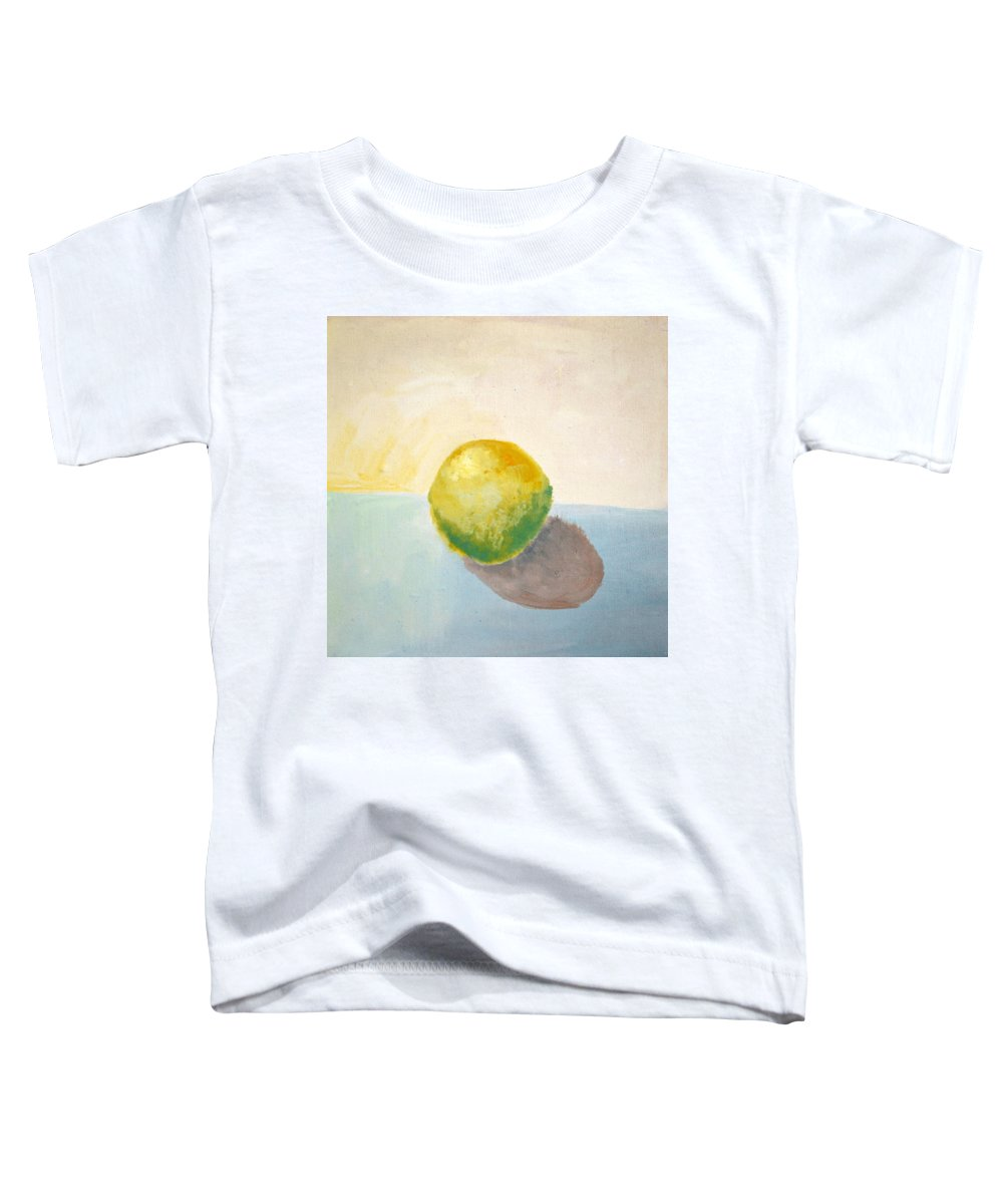 Lemon Toddler T-Shirt featuring the painting Yellow Lemon Still Life by Michelle Calkins