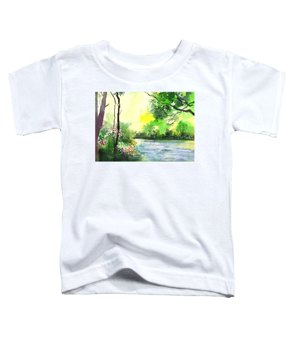Sky Toddler T-Shirt featuring the painting Yellow Sky by Anil Nene