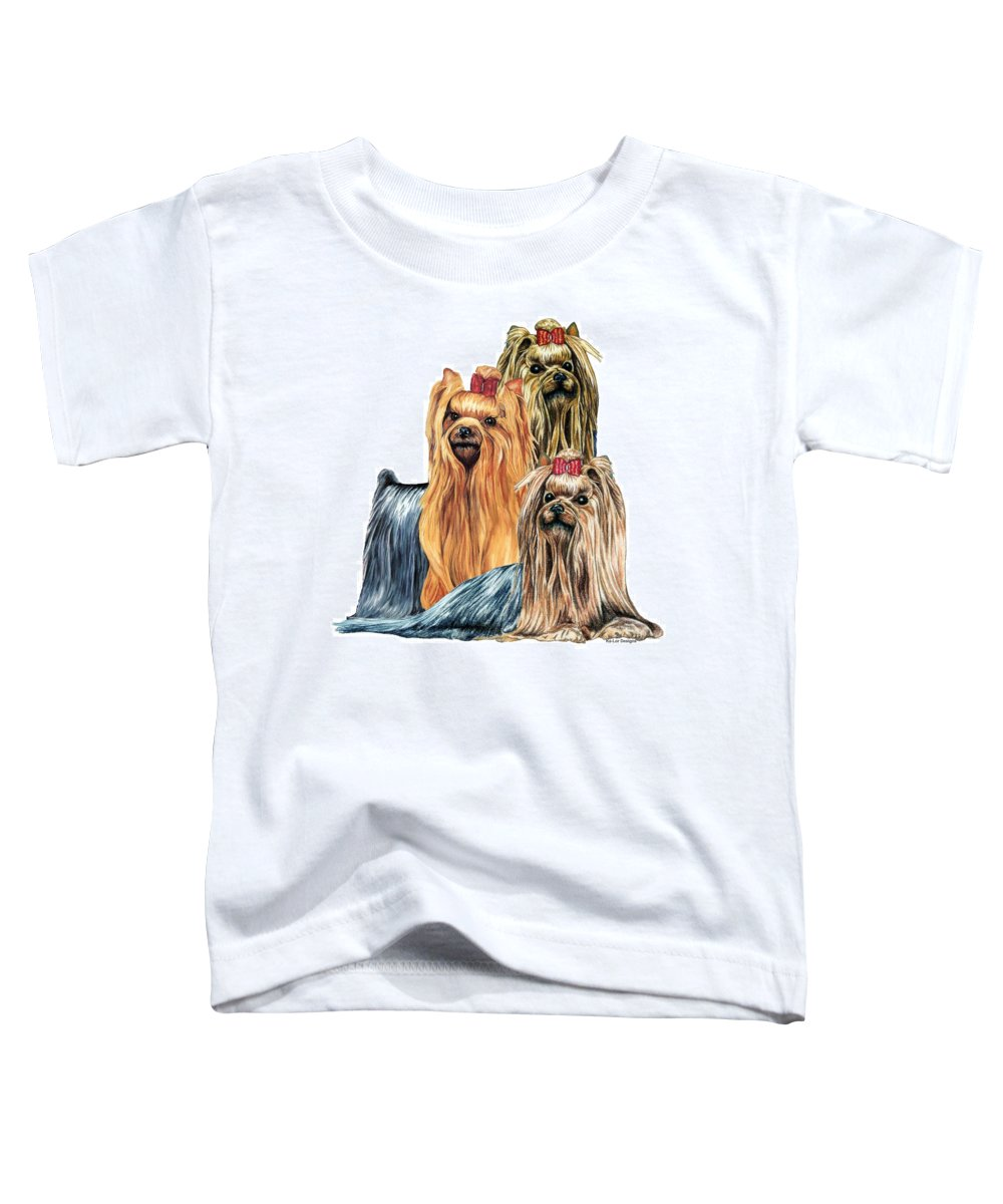 Yorkshire Terrier Toddler T-Shirt featuring the drawing Yorkshire Terriers by Kathleen Sepulveda