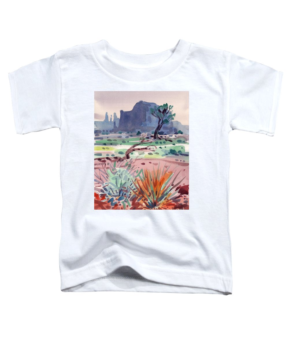 Monument Valley Toddler T-Shirt featuring the painting Yucca And Buttes by Donald Maier
