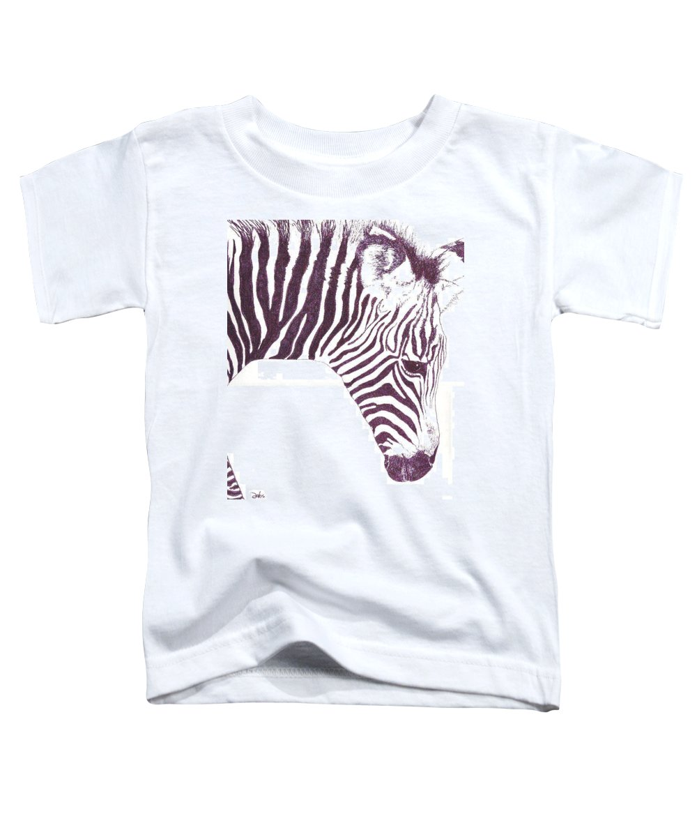 Zebra Toddler T-Shirt featuring the painting Zebra Colt by Debra Sandstrom
