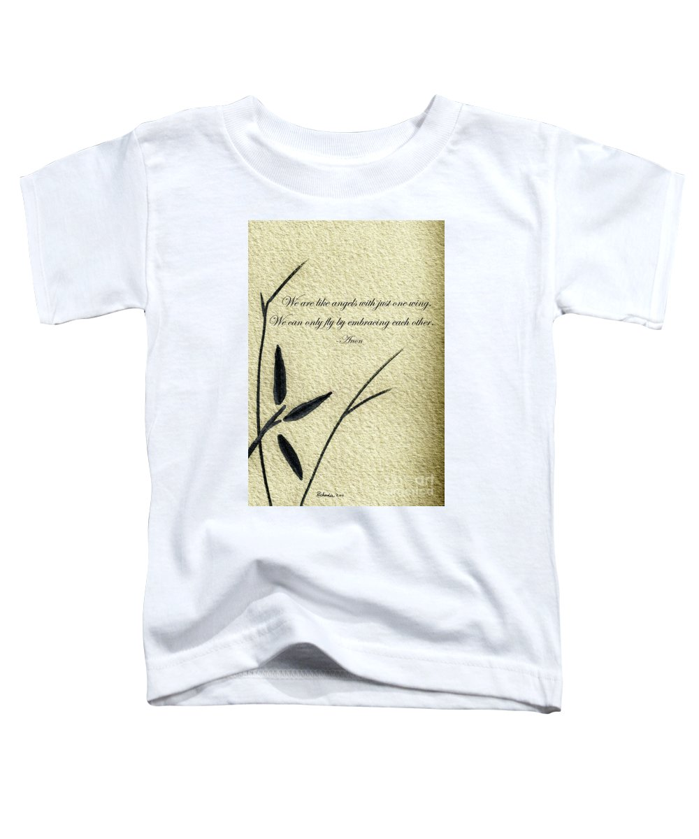Abstract Toddler T-Shirt featuring the mixed media Zen Sumi 4d Antique Motivational Flower Ink On Watercolor Paper By Ricardos by Ricardos Creations