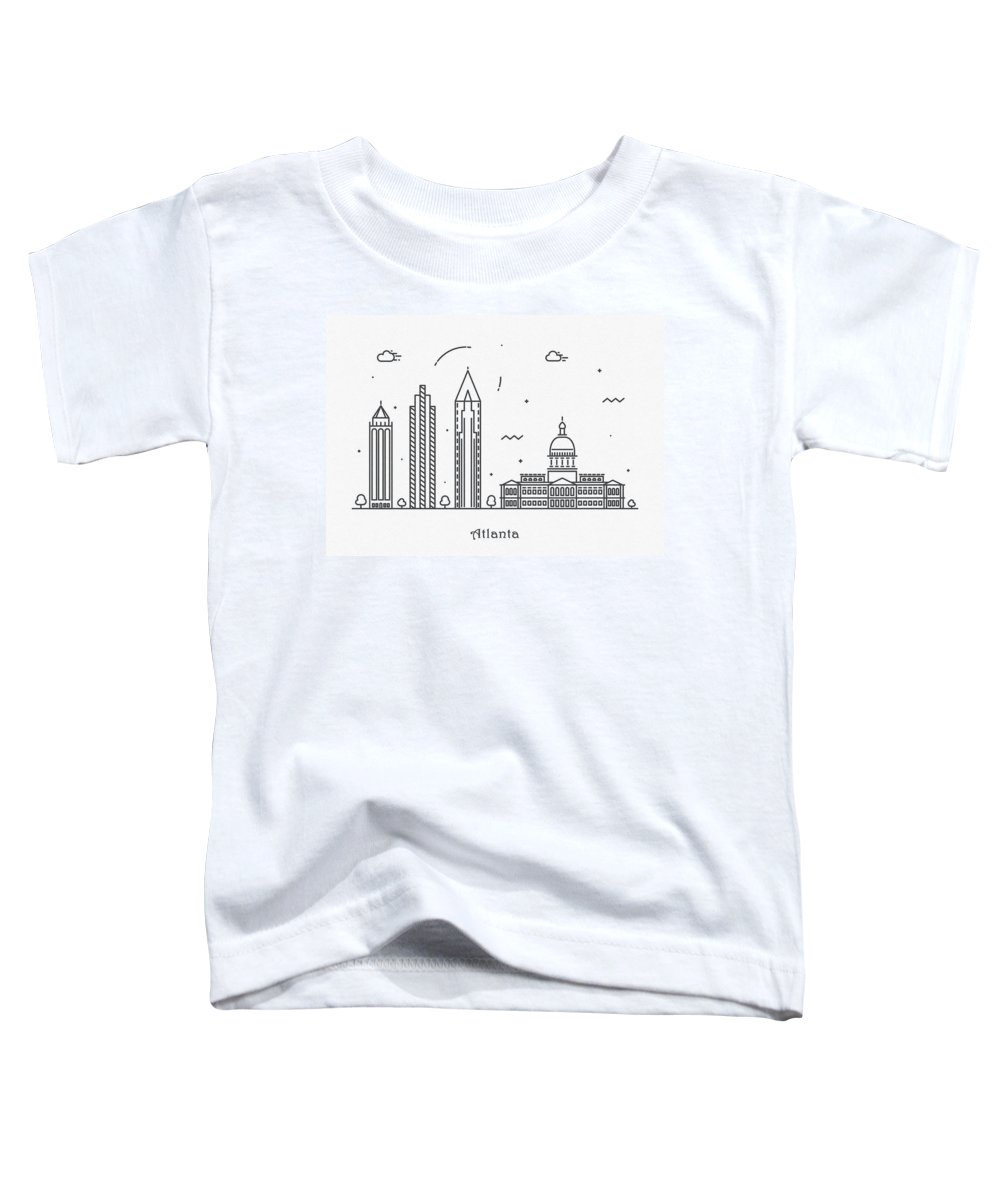 Atlanta Toddler T-Shirt featuring the drawing Astana Cityscape Travel Poster by Inspirowl Design