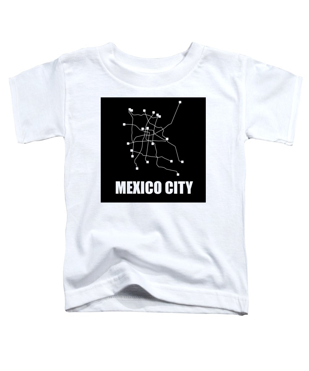 Mexico City Toddler T-Shirt featuring the digital art Mexico City Black Subway Map 1 by Naxart Studio