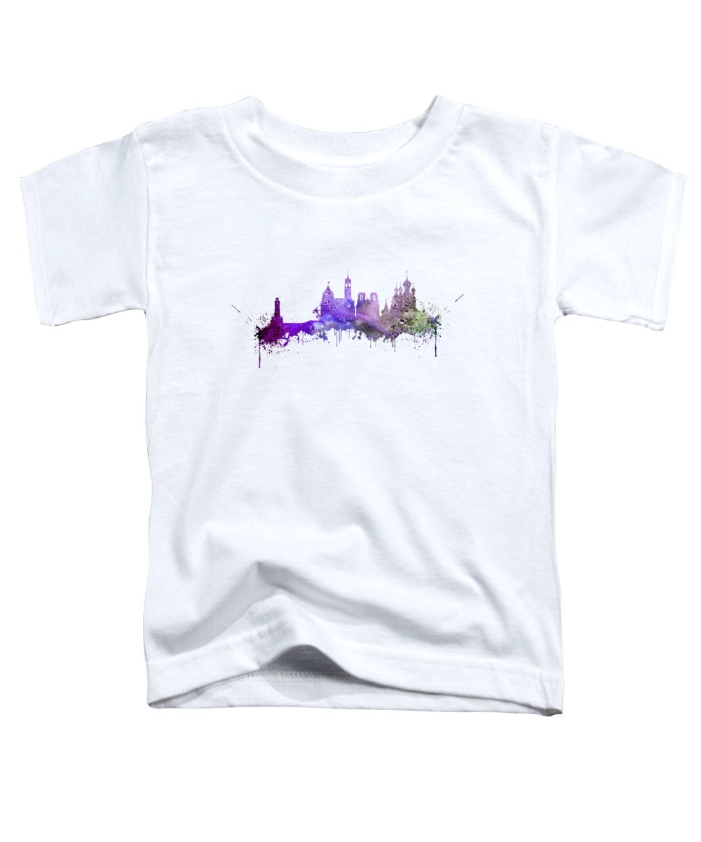 Nice Skyline Toddler T-Shirt featuring the digital art Nice by Erzebet S