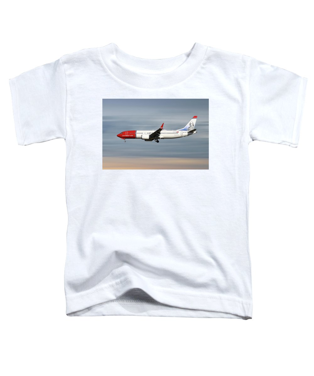 Norwegian Toddler T-Shirt featuring the mixed media Norwegian Boeing 737 Max 8 by Smart Aviation