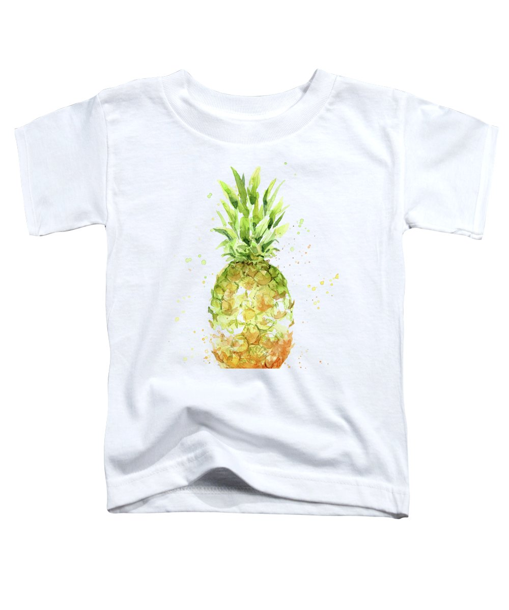 Pineapple Toddler T-Shirt featuring the painting Abstract Watercolor Pineapple by Olga Shvartsur