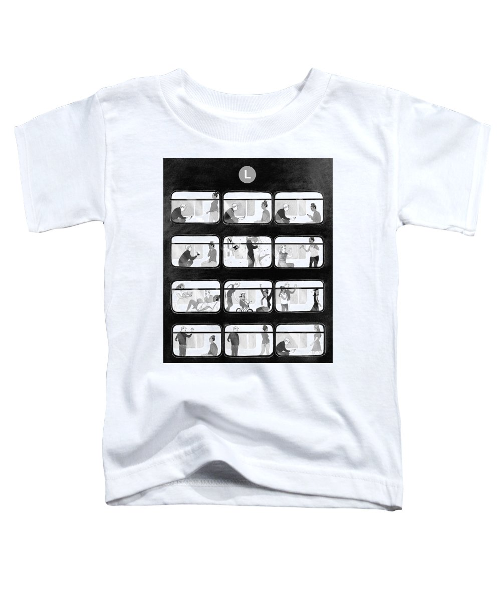 Train Toddler T-Shirt featuring the drawing An L Train Love Story by Will McPhail