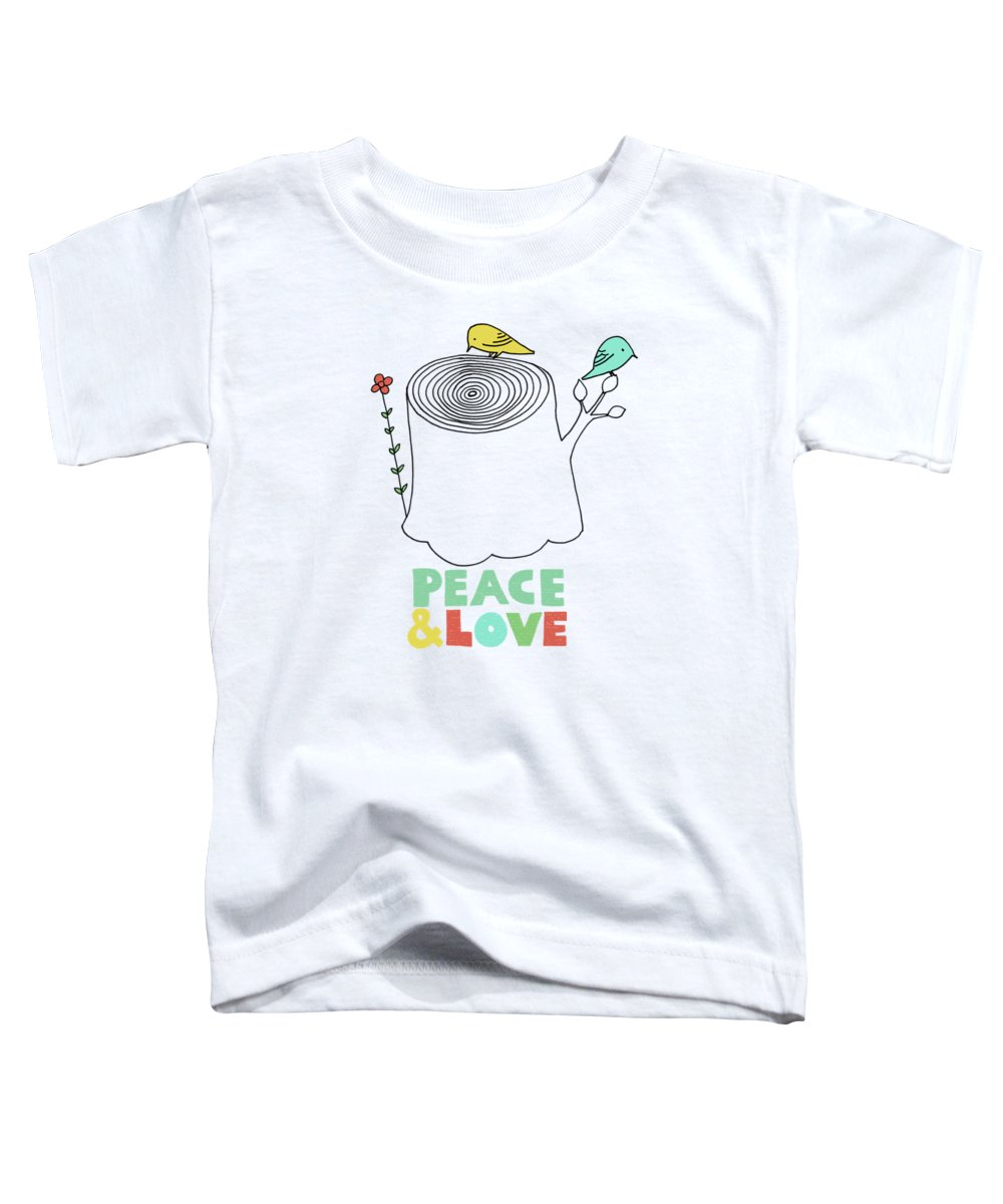 Birds Toddler T-Shirt featuring the drawing Peace and Love by Eric Fan