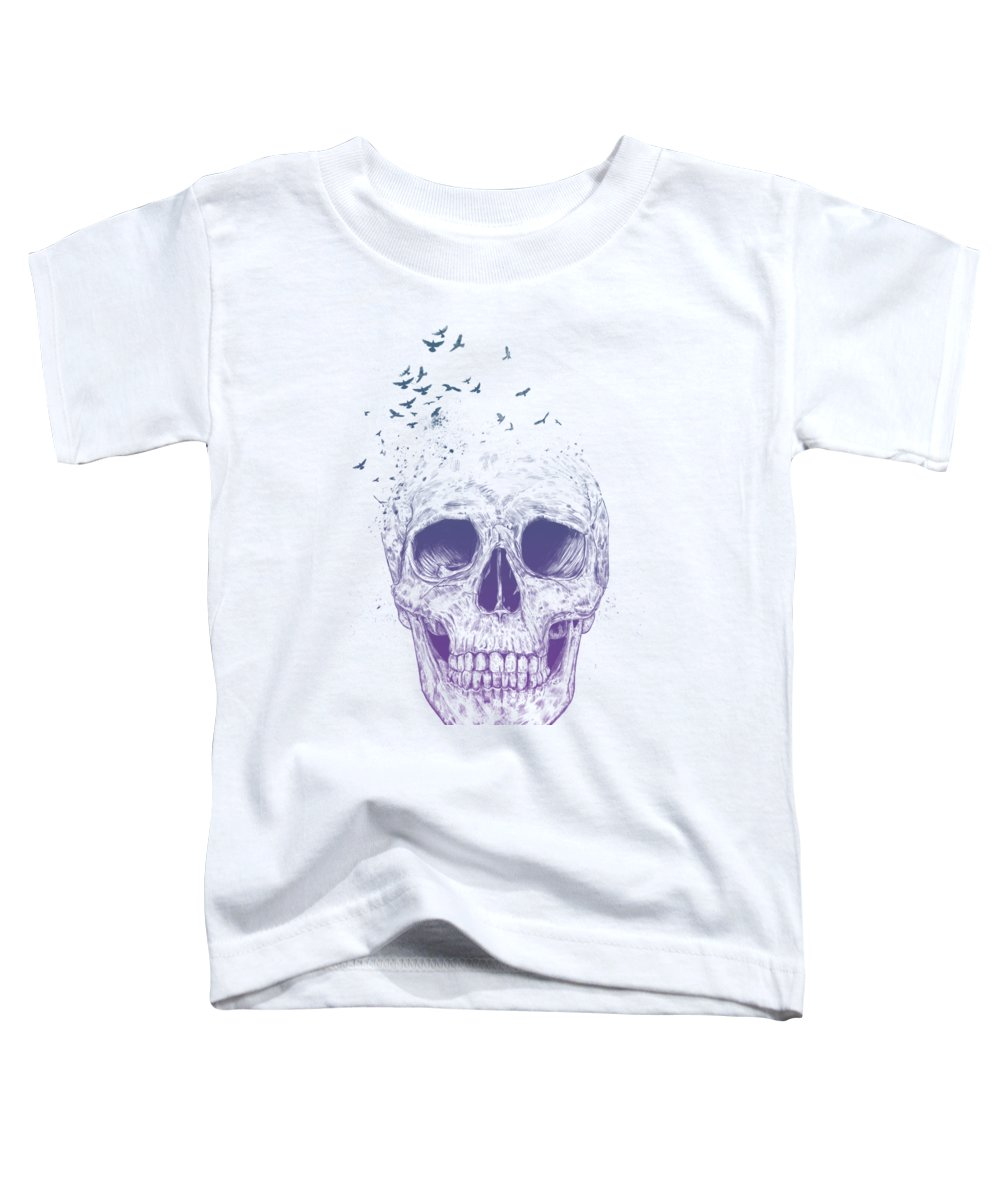 Skull Toddler T-Shirt featuring the mixed media Let them fly by Balazs Solti