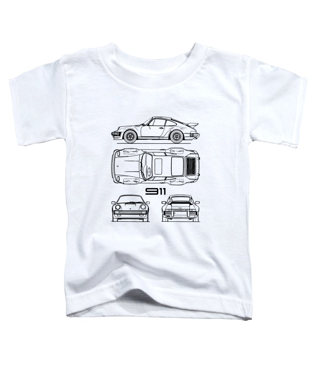Porsche Toddler T-Shirt featuring the photograph Blueprint 911 Turbo by Mark Rogan