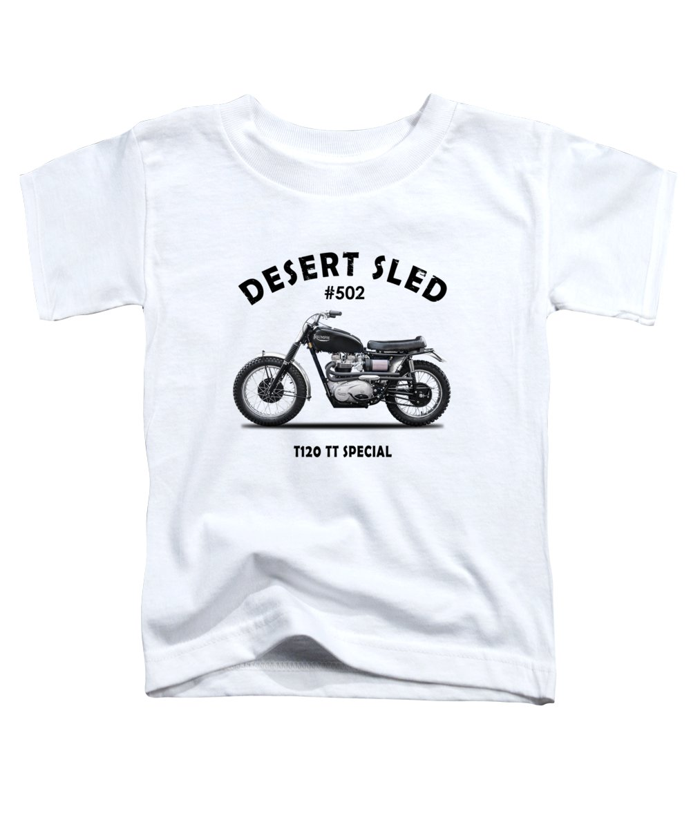 Triumph Trophy Toddler T-Shirt featuring the photograph Desert Sled Motorcycle Number 502 by Mark Rogan