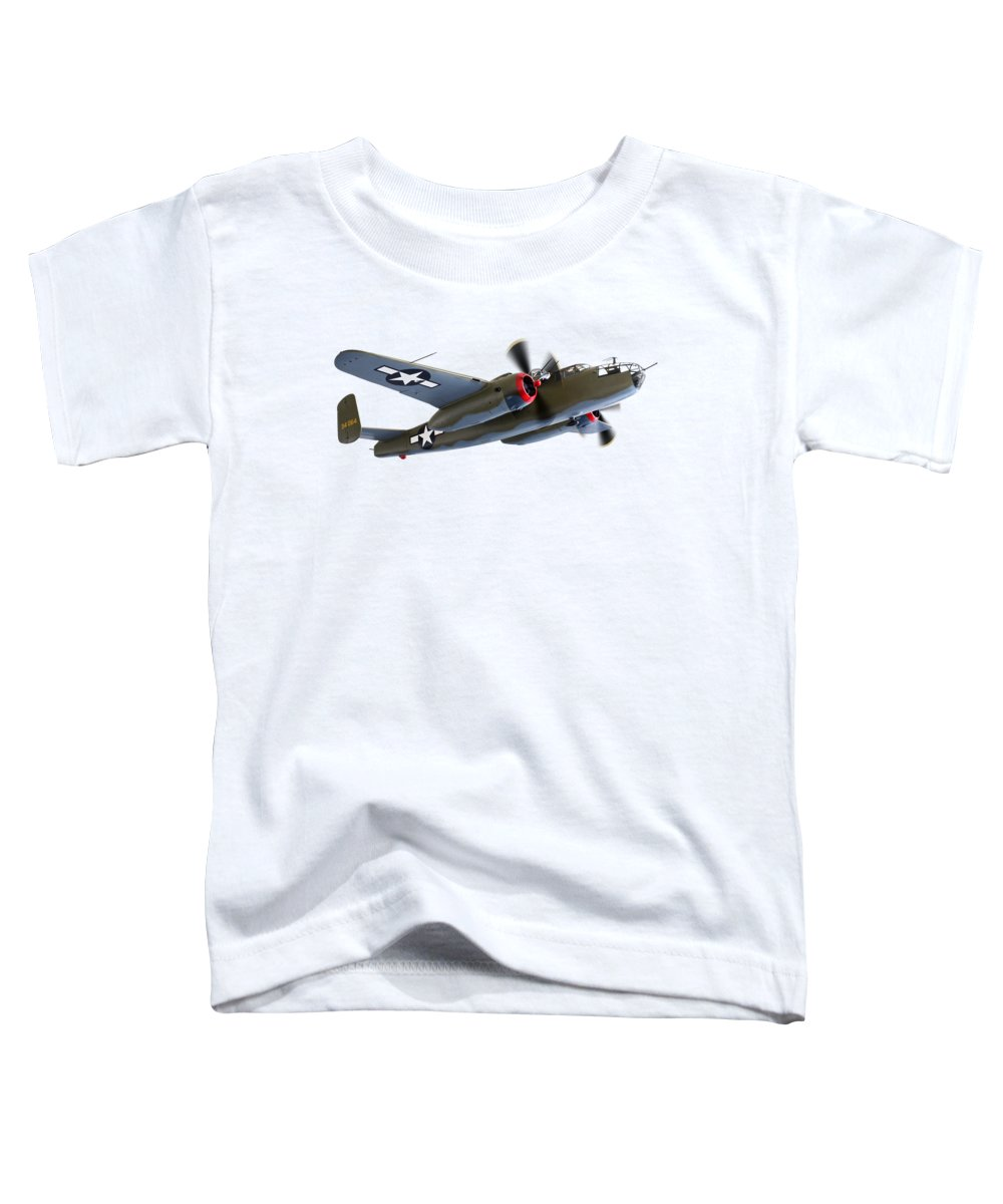 Aviation Toddler T-Shirt featuring the photograph B-25 Mitchell Bomber by Gill Billington