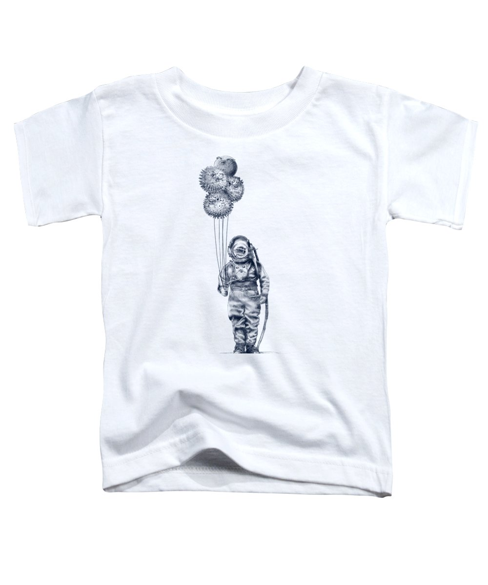 Pen And Ink Toddler T-Shirt featuring the drawing Balloon Fish Option by Eric Fan