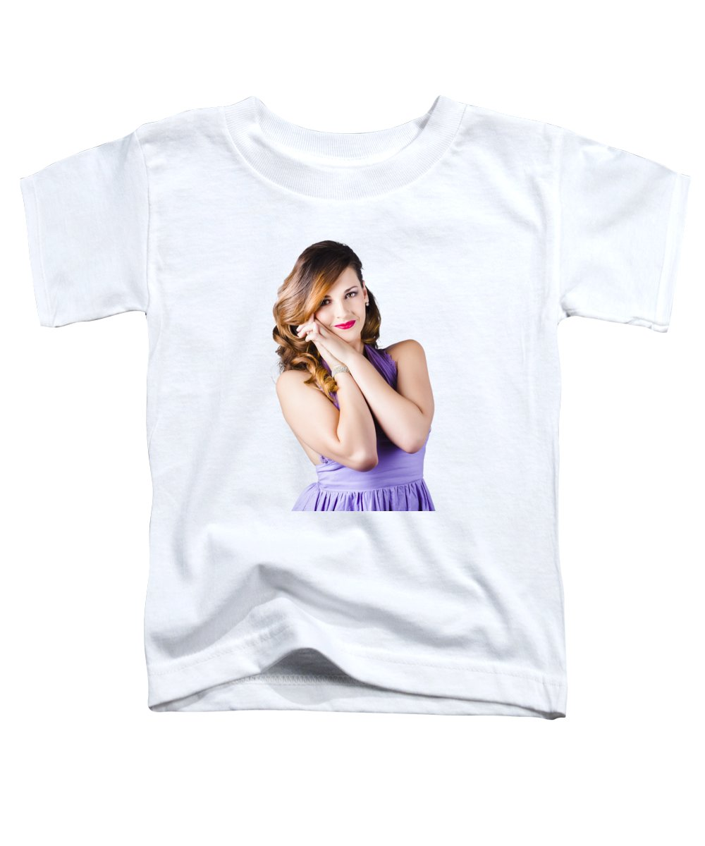 Model Toddler T-Shirt featuring the photograph Beautiful Woman In Purple Dress by Jorgo Photography - Wall Art Gallery