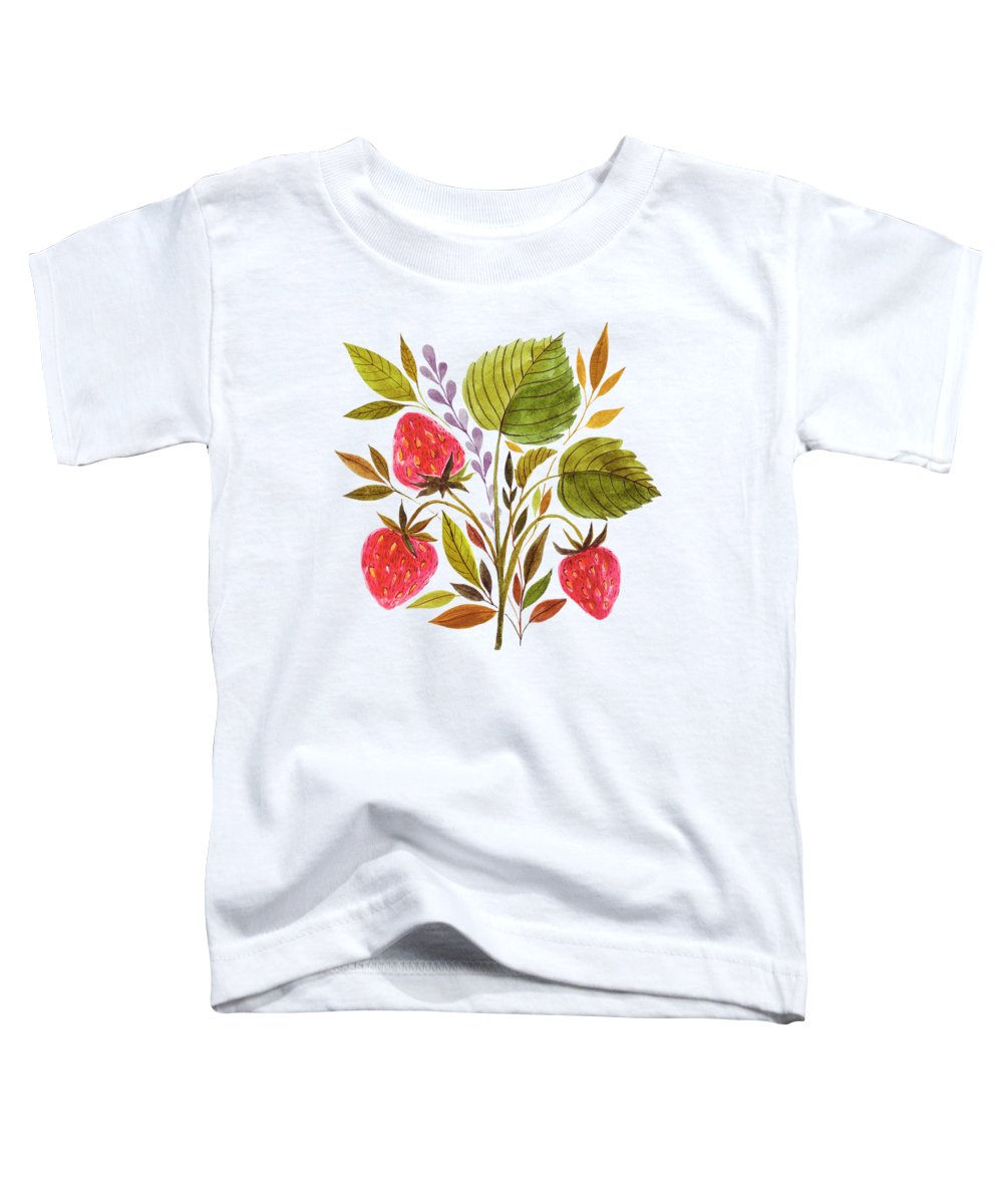 Strawberry Toddler T-Shirt featuring the painting Early Summer Strawberries Are The Sweetest by Little Bunny Sunshine