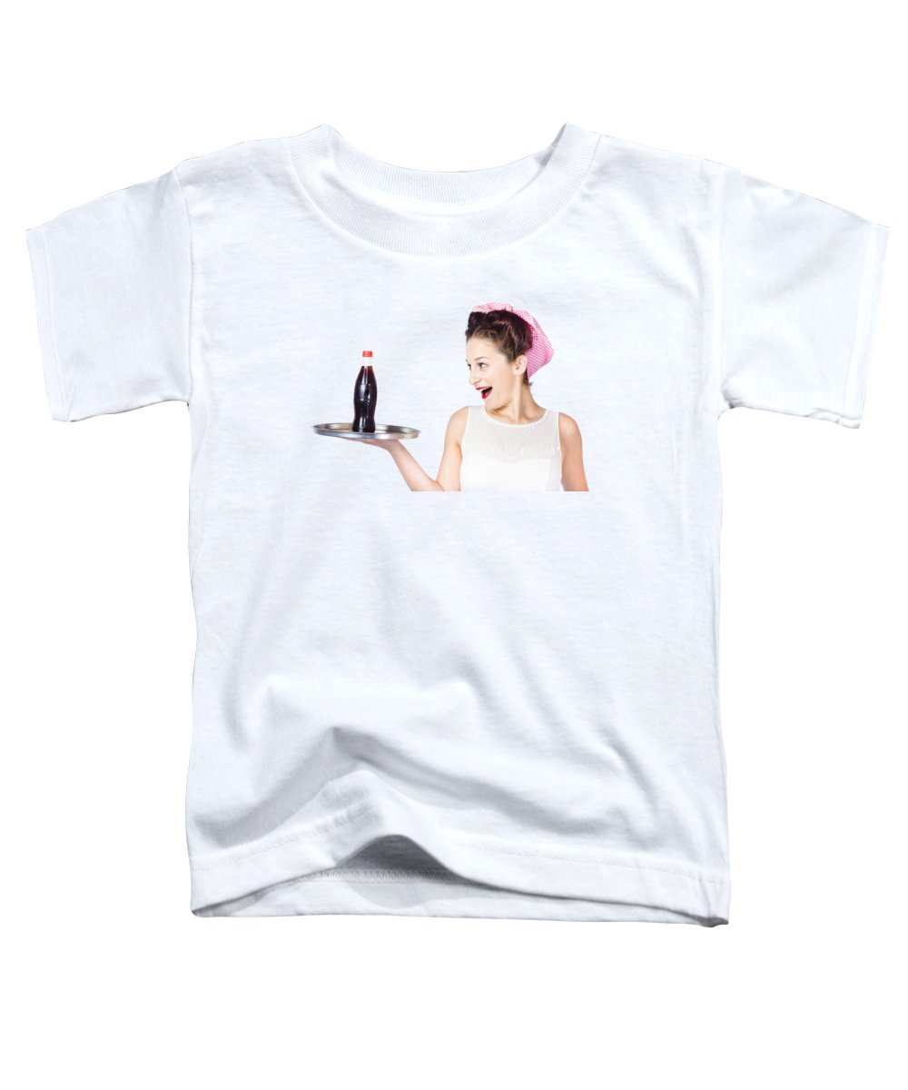 Waitress Toddler T-Shirt featuring the photograph Fifties Style Female Waiter Serving Up Soda by Jorgo Photography - Wall Art Gallery