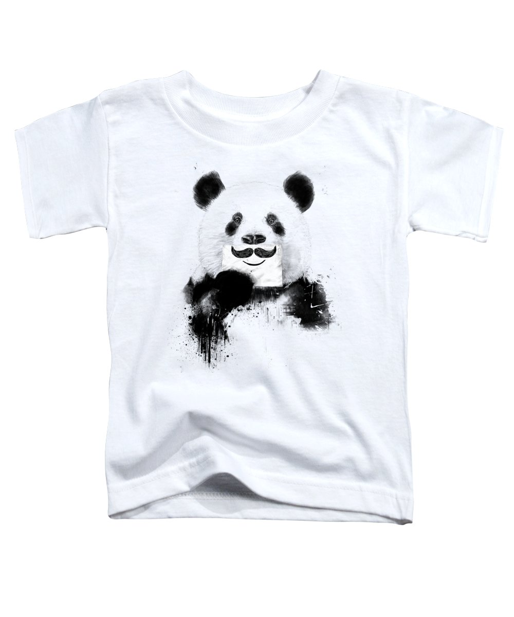Panda Toddler T-Shirt featuring the mixed media Funny panda by Balazs Solti