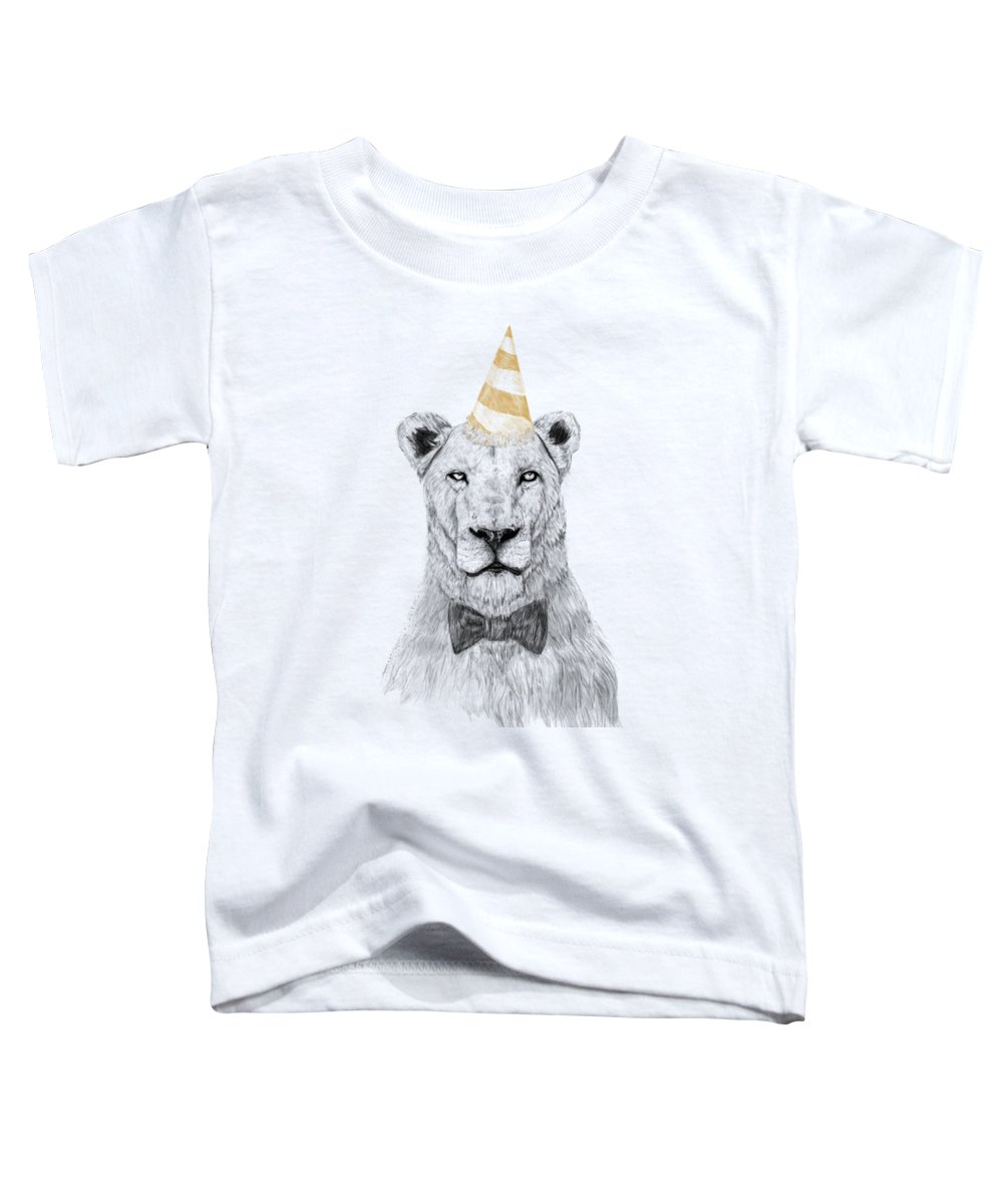 Lion Toddler T-Shirt featuring the drawing Get the party started by Balazs Solti