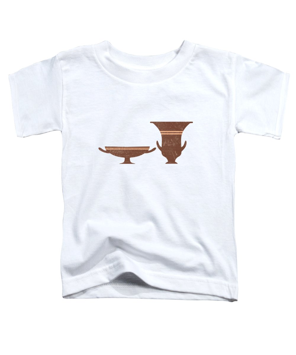 Abstract Toddler T-Shirt featuring the mixed media Greek Pottery 35 - Bell Krater, Kylix - Terracotta Series - Modern, Contemporary, Minimal Abstract by Studio Grafiikka