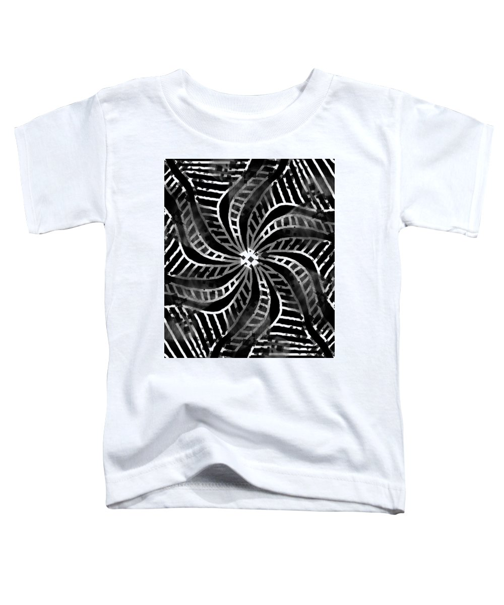 Black And White Toddler T-Shirt featuring the drawing Groove Swirl Absence Of Colour by Joan Stratton