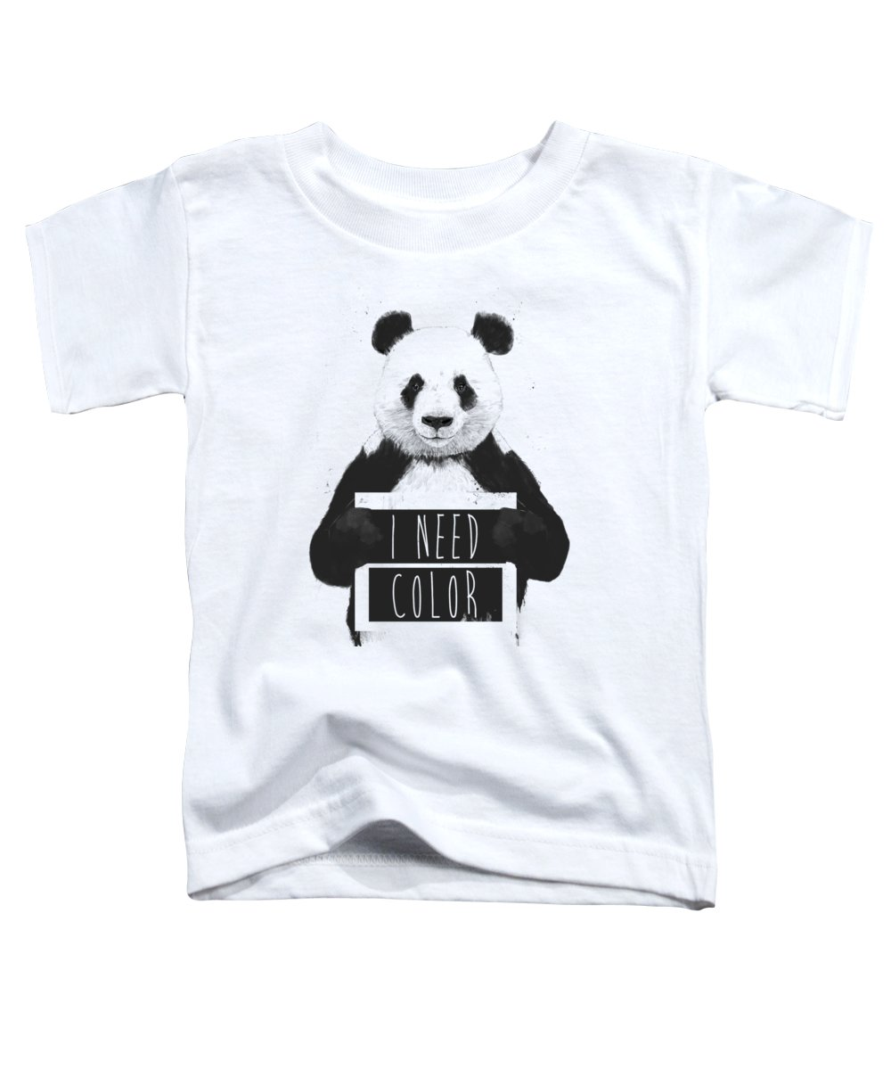 Panda Toddler T-Shirt featuring the mixed media I need color by Balazs Solti