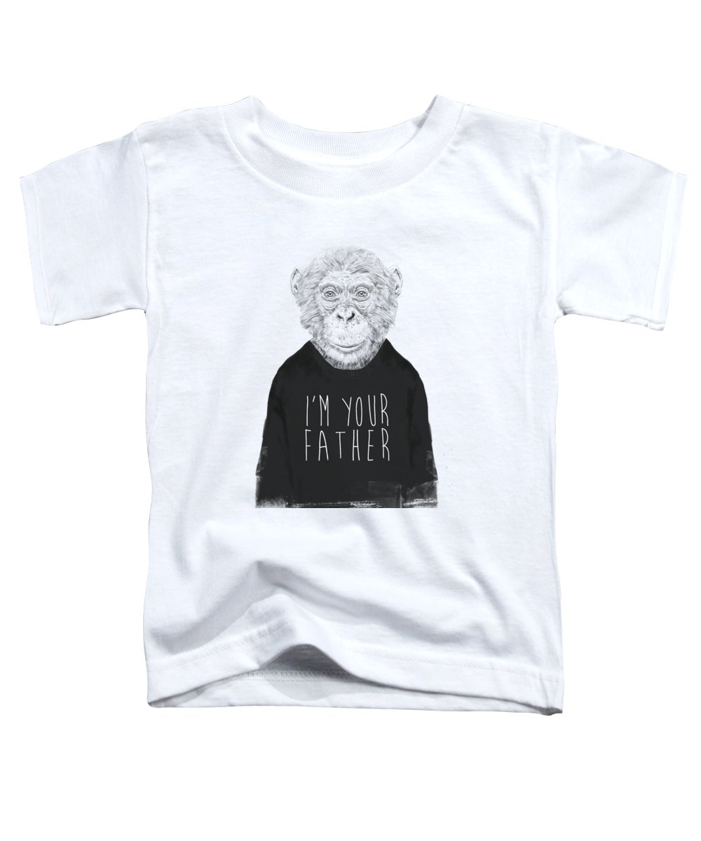 Monkey Toddler T-Shirt featuring the mixed media I'm Your Father by Balazs Solti