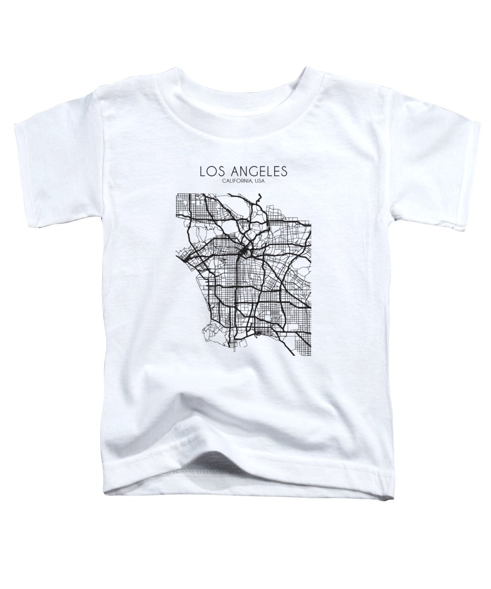 Los Angeles Toddler T-Shirt featuring the digital art Los Angeles Street Map by Zapista OU