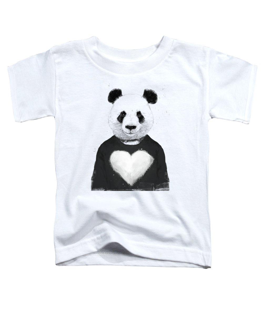 Panda Toddler T-Shirt featuring the mixed media Lovely panda by Balazs Solti