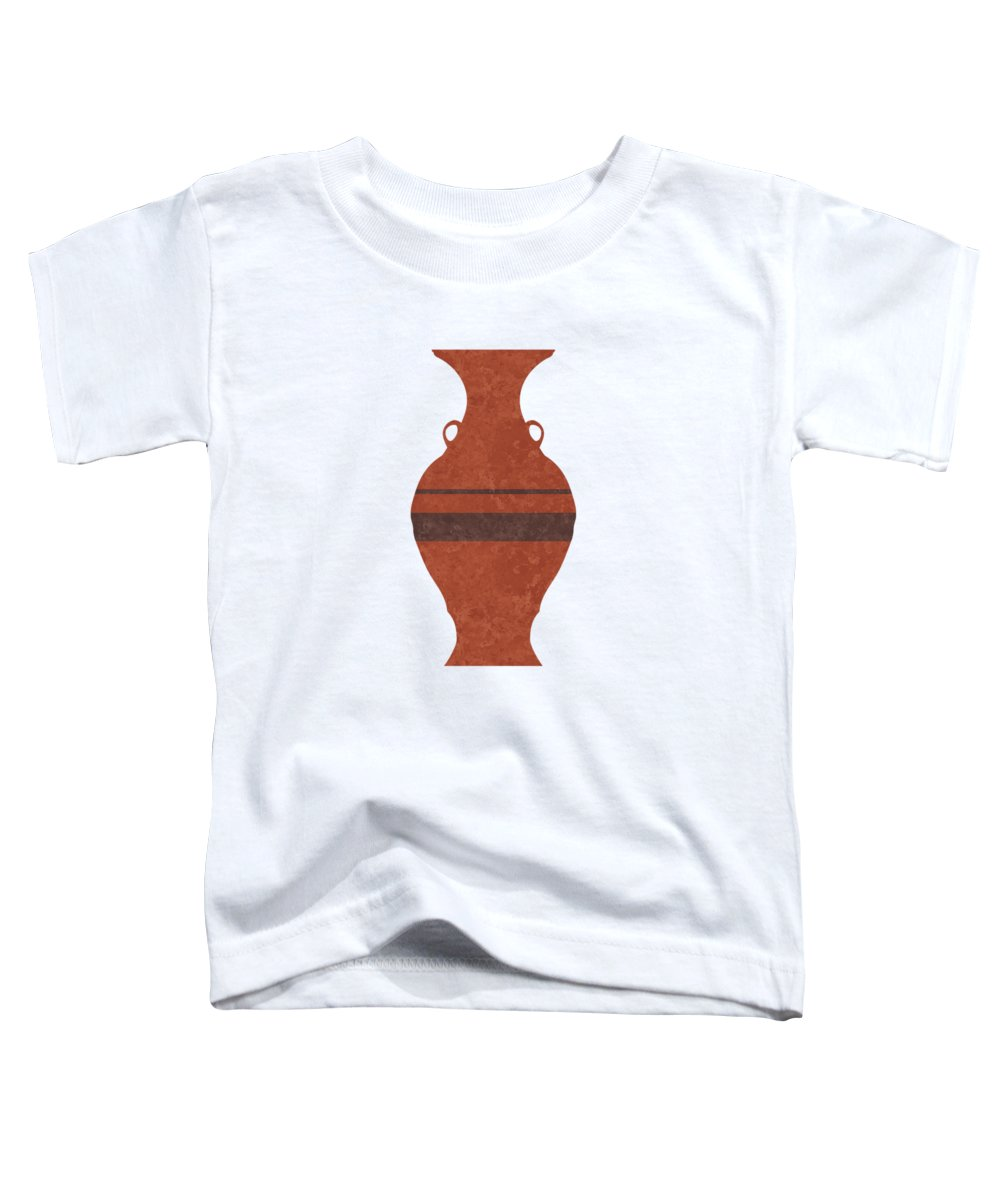 Abstract Toddler T-Shirt featuring the mixed media Minimal Abstract Greek Vase 11 - Hydria - Terracotta Series - Modern, Contemporary Print - Brown by Studio Grafiikka