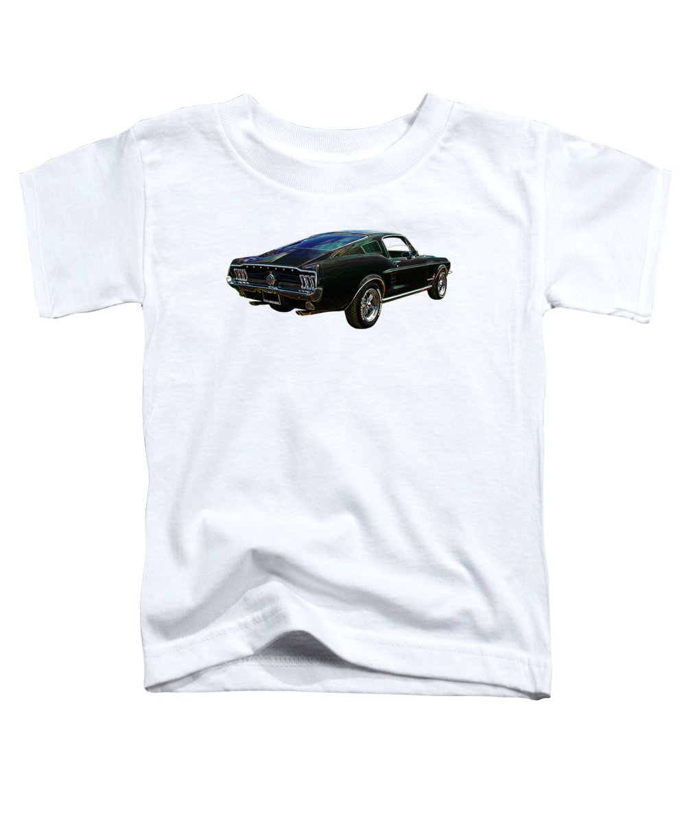 Classic Mustang Toddler T-Shirt featuring the photograph Neon Mustang Fastback 1967 by Gill Billington