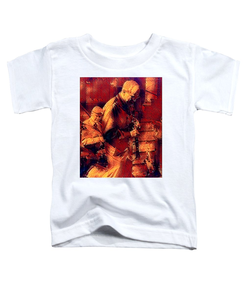 New Black Eagle Jazz Band Toddler T-Shirt featuring the mixed media New Black Eagle Jazz Band - Bill And Billy by Marshall Thomas
