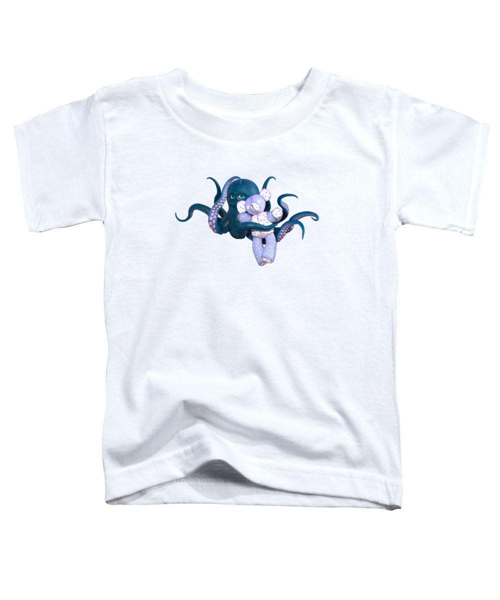 Octopus Toddler T-Shirt featuring the digital art Octopus And Purple Bear by Betsy Knapp