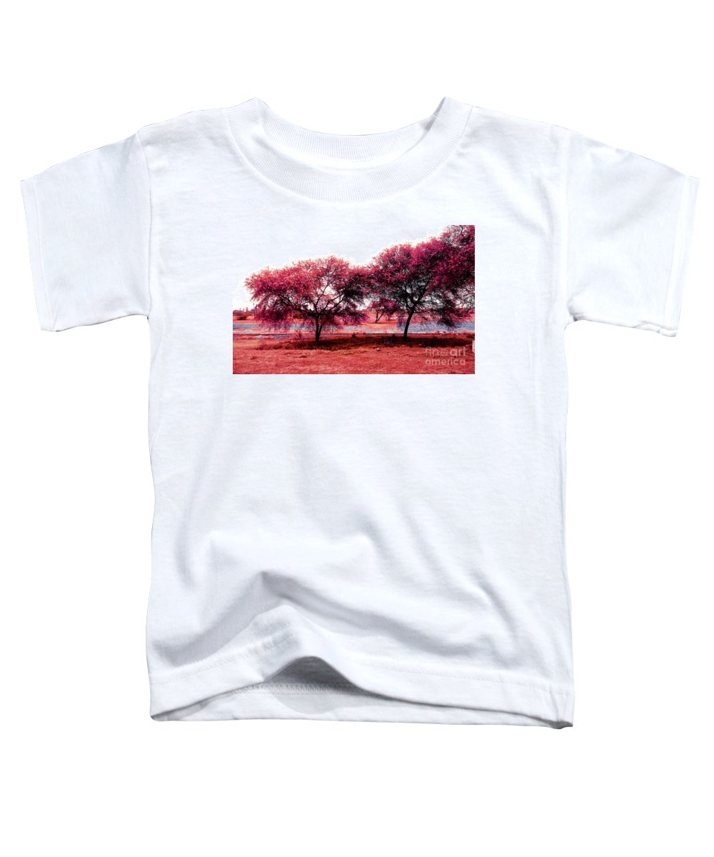 Wall Art Toddler T-Shirt featuring the digital art Pink Trees by Anita Morya