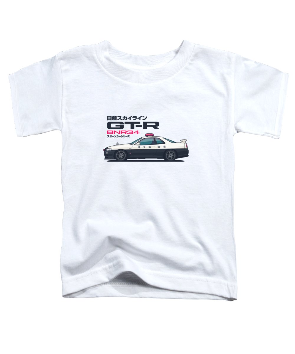 Gt-r Toddler T-Shirt featuring the digital art R34 Gt-r - Landscape Police by Ivan Krpan