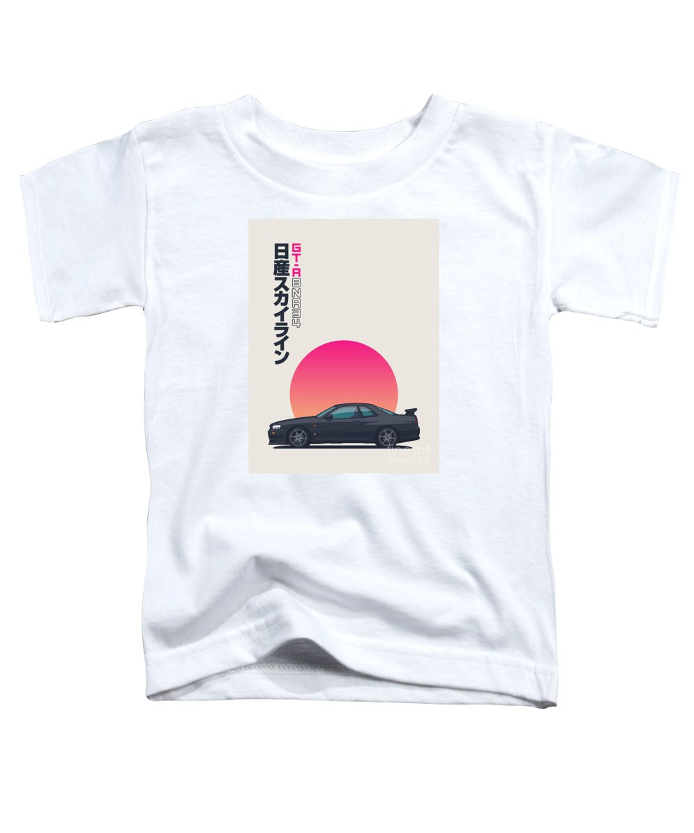 Gt-r Toddler T-Shirt featuring the digital art R34 Gt-r - Portrait Black by Ivan Krpan